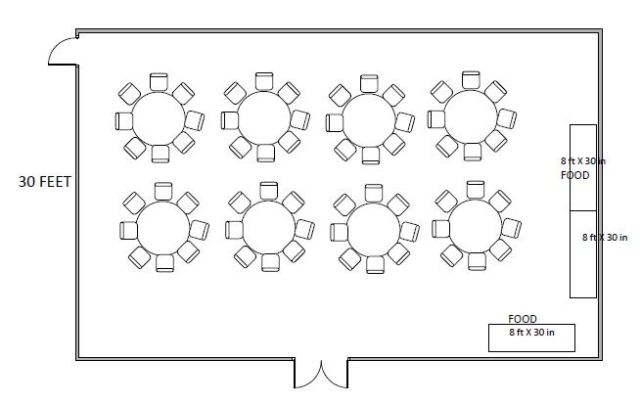 Floor Plan - Banquet setup in the Commonwealth Room