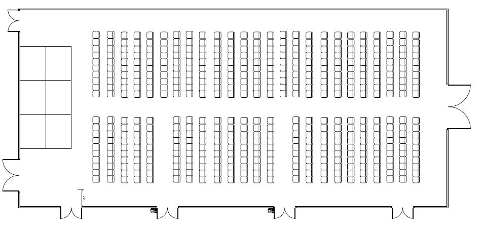Ballroom floor plan - rows of chairs facing south