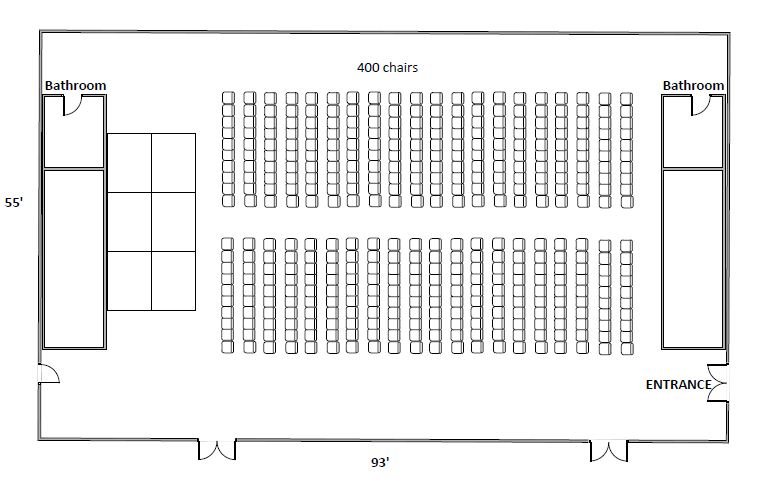 Floor plan - theater setup with stage at the SAB